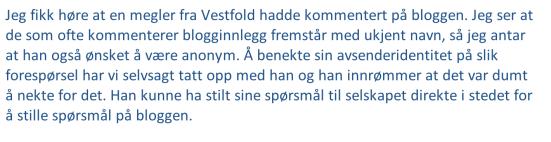 Offisielt svar fra Krogsveen